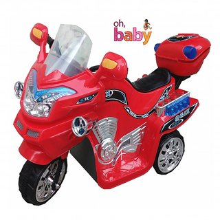 Oh Baby, Baby Battery Operated Bike Red Color With Musical Sound And Back Basket For Your Kids SE-BOB-04