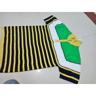 Green Tshirt With Yellow And Black Stripes