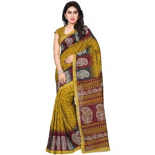 SuratTex Yellow Bhagalpuri Silk Printed Saree With Blouse