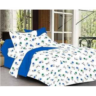 Always Plus White Floral Cotton Bedsheet (1 Double bedsheet With 2 Pillow Cover)with TC160