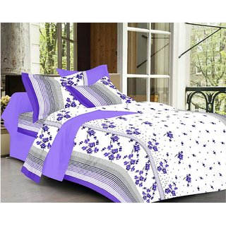 Always Plus Multicolor Floral Cotton Bedsheet (1 Double bedsheet With 2 Pillow Cover)with TC160