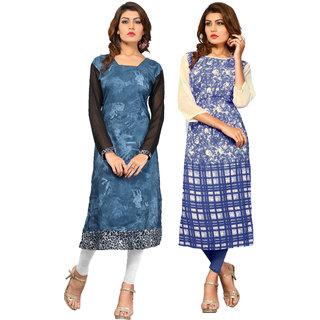 Ladyview Blue Printed Cotton  Crepe  Stitched Kurti