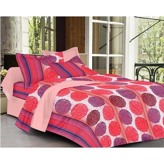 Always Plus Red Floral Cotton Bedsheet (1 Double bedsheet With 2 Pillow Cover)with TC160