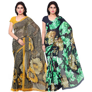 Surat Tex Black  Navy Blue Colored Corsa Georgette  Dani Georgette Printed Casual Wear Combo Of 2 Saree -ST2SE094