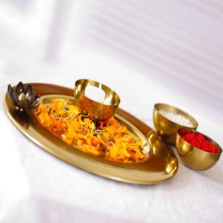 Deziworkz Lotus Pooja Thali