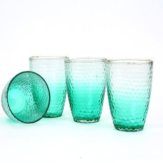 Deziworkz Honeycomb Glasses (Set of 4, 400 ML)
