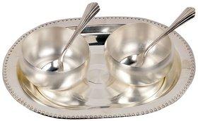 Rastogi Handicrafts Silver Polish Brass Bowl, Spoon and Tray Set (334, Silver)