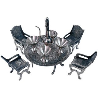 Rastogi Handicrafts Unique Design Dining Table Chair Maharaja Set