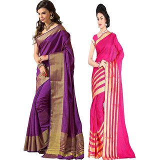 Indian Beauty Multicolor Art Silk Checks Saree With Blouse