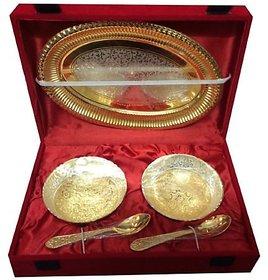 Rastogi Handicrafts Craft India 5pcs Decorative bowl set with tray-gold finish