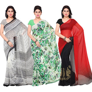 Surat tex Multi Colored Corsa Georgette  Dani Georgette Printed Casual Wear Combo of 3 Saree -ST3SE015