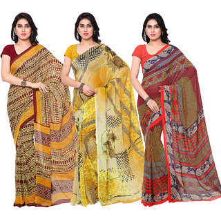 Surat tex Multi Colored Dani Georgette,Chiffon  Heavy Georgette Printed Casual Wear Combo of 3 Saree -ST3SE027