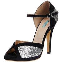 Catwalk Women's  Silver,Black Peep Toe Buckle Heels