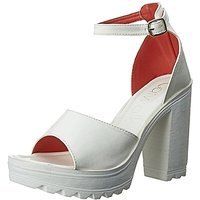 Catwalk Women's  White Peep Toe Buckle Heels
