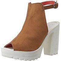 Catwalk Women's  Beige Peep Toe Buckle Heels