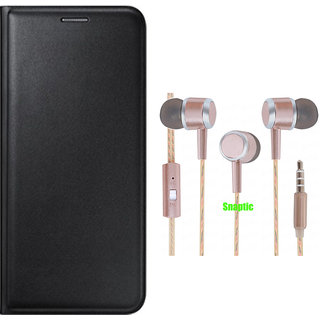 Snaptic Limited Edition Black Leather Flip Cover for Redmi 2 with Rose Gold Stereo Earphones with Mic