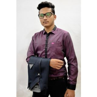 Party Wear Shirt By Reverse Lifestyle (Pink)