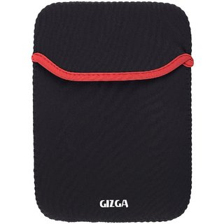 GIZGA 7 inch -8 inch Protective Reversible Laptop Sleeve Black + Red Colour