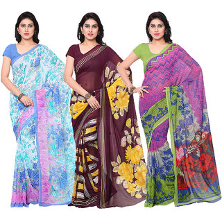 Surat tex Multi Colored Dani Georgette,Corsa Georgette  Heavy Georgette Printed Casual Wear Combo of 3 Saree -ST3SE04
