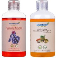 Healthbuddy Herbal - Headache Relief Oil, 200ml  Anti Stress Body Massage Oil, 200ml
