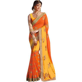 SuratTex Yellow Georgette Embroidered Saree With Blouse