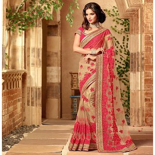 Tiana Creation Pink Net Embroidered Saree With Blouse