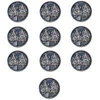 Kataria Jewellers Lakshmi Ganesha Combo Pack Of 10 Silver 10 Grams Coin For Diwali