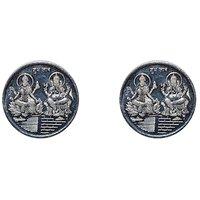 Kataria Jewellers Lakshmi Ganesha Combo Pack Of 2 Silver 10 Grams Coin For Diwali