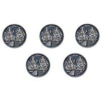 Kataria Jewellers Lakshmi Ganesha Combo Pack Of 5 Silver 10 Grams Coin For Diwali