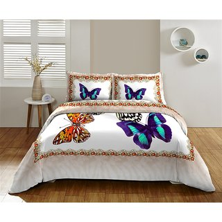 Multi Colour 300 TC Cotton Bedsheet (Bedsheet Set (King))
