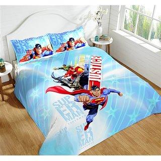 Multi Colour 220 TC Cotton Justice League Bedsheets (Bedsheet Set (Single))