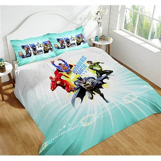 Multi Colour 220 TC Cotton Justice League Bedsheets (Bedsheet Set (Single))