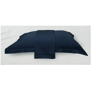 Royal Blue Solid Bed Sheet with Marrowing Pillow Covers (Bedsheets (Single))