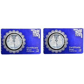 Kataria Jewellers Lakshmi Ganesha Combo Of 2 Silver Coin 10 Grams With Card Packing In 999 Purity Hallmarked Silver