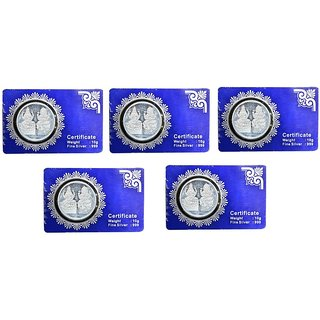 Kataria Jewellers Lakshmi Ganesha Combo Of 5 Silver Coin 10 Grams With Card Packing In 999 Purity Hallmarked Silver
