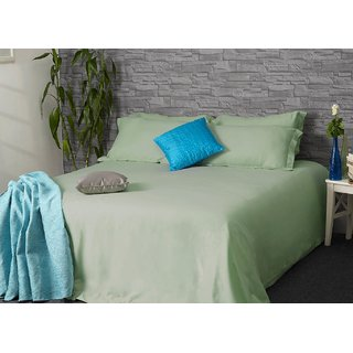 Smoke Green 400TC Easy Care Cotton BedLinen (Bedsheet Set (Single))