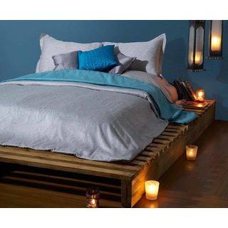 Blue Sateen King Bedsheet with 2 Pillow Covers (Bedsheet Set (King))
