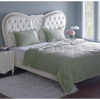 Green Quilted Bedspread or Comforter with Pillow Covers (Comforter Set (Double))