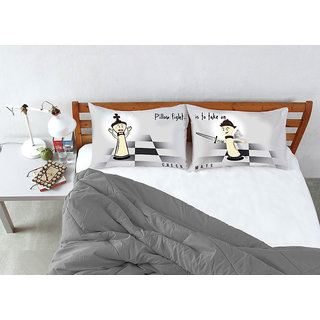Black Grey Pillow Fight Check Mate Bed Linen (Pillow Cover (2 Pc Set))
