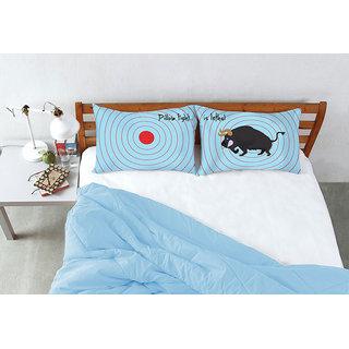 Blue Pillow Fight Target Bull Bed Linen (Pillow Cover (2 Pc Set))