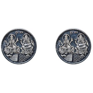 Kataria Jewellers Lakshmi Ganesha 10 Gm Silver Coins With Diwali Gift Box Pack Of 2