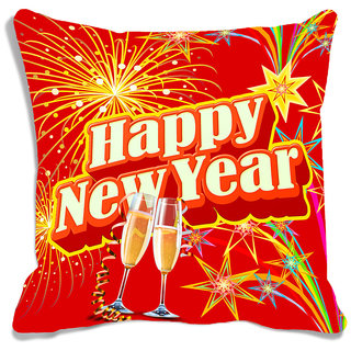 meSleep Happy New Year Red Digitally Printed Cushion Cover (16x16)