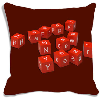 meSleep Happy New Year Brown Digitally Printed Cushion Cover (16x16)