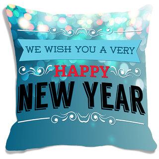 meSleep Happy New Year Wishes Blue Digitally Printed Cushion Cover (16x16)