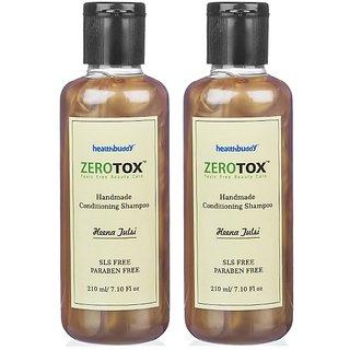 Healthbuddy Zerotox Handmade Conditioning Shampoo Heena Tulsi 2 Packs Of 210 Ml Each