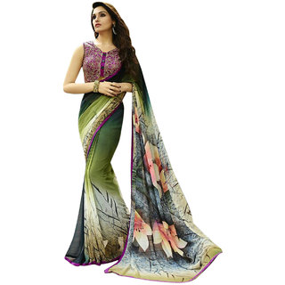 Surat Tex Green Color Georgette Printed Party Wear Saree with Blouse Piece-J307SE12