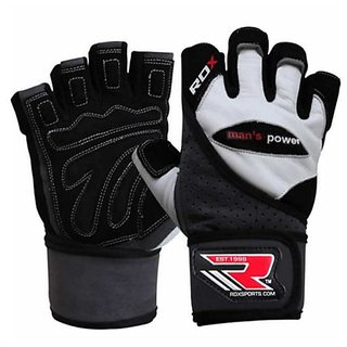 RDX GYM GLOVE LEATHER Gray/BLACK