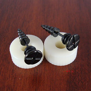 New Fashion Studs 1 pcs Stainless Steel Earring Men jewelry Girl Boy Earrings Screw Stud Earrings Black CODEpc-6726