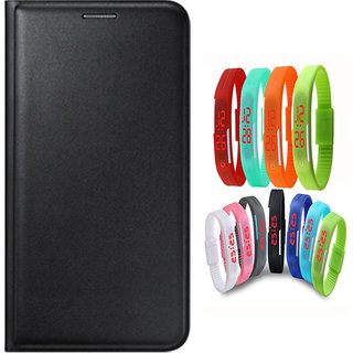 Snaptic Limited Edition Black Leather Flip Cover for Redmi 3S Prime with Waterproof LED Watch