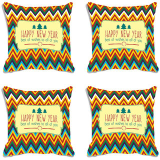 meSleep Happy New Year Ethnic Digitally Printed Cushion Cover (16X16) - Set of 4